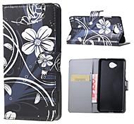 Corpo Completo carteira / Entrada de Cartão / com suporte / Giro / Estampa Flor Couro Ecológico Duro Case Capa Para Nokia Other