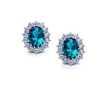 Fashion Platinum Plated Earring Stud with 3 ct Oval Cut Blue Zircon & Micro Paved Clear Zircon 2016 Earrings For Women