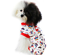 Dog Clothes/Jumpsuit / Pajamas Red / Blue Spring/Fall Cartoon Fashion
