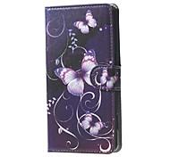 фиолетовые бабочки и лозы шаблон бумажник кожаный флип стенд случай с гнездом для платы для Microsoft Lumia 650