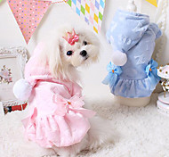 Dog Coat / Hoodie Blue / Pink Dog Clothes Winter Solid Fashion / Keep Warm