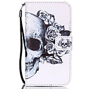 Skull Flower Pattern PU Material Card Lanyard Case for Samsung Galaxy S7/S7Edge