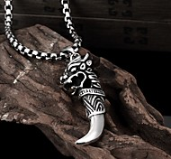 Wolf Restoring Ancient Ways is Exaggerated Men Titanium Steel Pendant Necklace