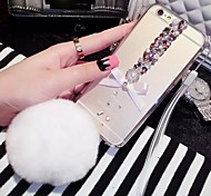 LADY®Butterfly Rhinestone Rex Rabbit Fur Ball Case for iphone 6 plus/6s plus(5.5 inch)
