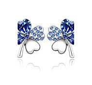 Full Crystal Zircon Earrings Stud Earrings for Women Cute Clover Earrings Fashion Jewelry Accessories