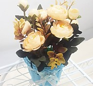 Silk / Plastic Camellia Artificial Flowers with Vase