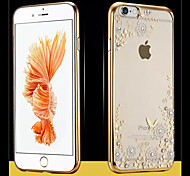 Flower Pattern Champaign Gold Side Diamante Design Cover for IPhone 6 Iphone6S (Assorted Color)