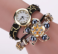 Women's Fashion Watch Bracelet Watch Quartz PU Band Sparkle Flower Pearls Black White Red Yellow Rose Strap Watch