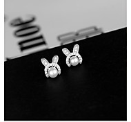 925 Silver Rabbit Earrings Fashion Leisure Stud Earrings