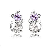 Full Crystal Zircon Earrings Stud Earrings for Women Lovely Cat Earrings Fashion Jewelry Accessories