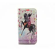Ride Horseback Girl Diamond Painted Bracket PU Case For Samsung Galaxy S7 / Galaxy S7 edge