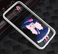 Lightning Glow in Dark With the Rope Long Hair Blue Skirt Girl Acrylic Back+TPU Frame Back Cover for Samsung Galaxy S6