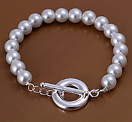 Classic Simple Women's White Pearls Silver Plated Strand Bracelet(White)(1Pc)