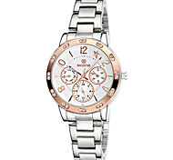 SKONE ® Chronograph Luminous Star Rhinestone Rose Gold Silver Watches Women Fashion Quartz Dress Watch Lady Wristwatches