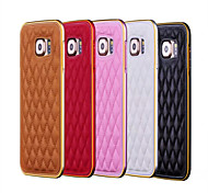 Metal Case 2 In 1 Style Fashion Grid Skins Aluminum Frame Leather Case For Samsung Galaxy S6/S6 Edge