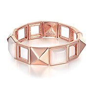 Fashion  Women's Square Stretchy Opal Rose Gold Plated Tin Alloy Bangle(Rose Gold)(1Pc)