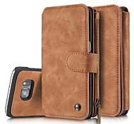Для Samsung Galaxy S7 Edge Чехлы панели Бумажник для карт Кошелек Флип Чехол Кейс для Один цвет Твердый Натуральная кожа для SamsungS8 S8