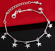 S925 Silver Star Pendant Chain & Link Strand Bracelet Jewelry