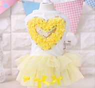 Dog Dress Pink / Yellow Summer Hearts Fashion