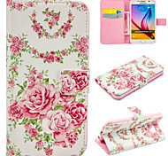 Pink Roses Pattern PU Leather Wallet Case For Samsung Galaxy S7/S7 edge