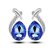 Luxury Austria Crystal Stud Earrings for Women Waterdrop Earrings Fashion Jewelry Accessories Silver Plated