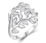 Trendy Tree Leaves Simple Ring Daily Wear Silver Plated Ladies Rings(Size:7/8,Color:Silver)