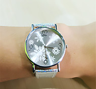 Colorful Flashlight Power Woman Wristwatch Hot Sale snowflake Woman Blooming Glitter Leather Watch