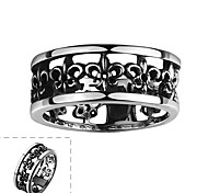 Individual Simple No Decorative Stone Men's Hollow out Stainless Steel  Ring(Black)(1Pc)