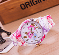 Women's European Style Fashion Flower Silicone Watch