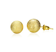 18K Gold Plated Stud Earrings 0.6cm Frosted Round Earring with Back Stoppers Fashion Jewelry(Color:Gold)