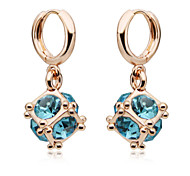 Luxury Drop Earrings for Women Vintage Crystal Square Drop Earrings Fashion Jewelry Accessories Silver Plated