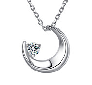 Lureme®  Korean Fashion  Crystal 925  Sterling Silver  Moon Pendant Necklace