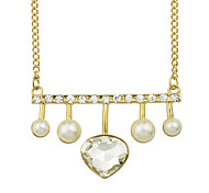 Elegant Imitation Crystal Heart Pendant Stone Necklace