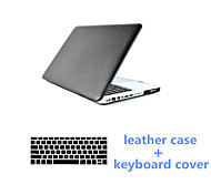 2016 Newest Black PU Leather Fold MacBook Case and Keyboard Flim for MacBook Pro 13.3 inch