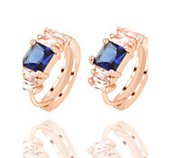 4 Colors Allergy Free Gold Plated Women Stud Earrings European Style Luxury Big Zircon Insert Earrings