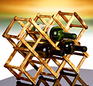 10 Bottle Fold Countertop Wine Rack Made From 100% Solid Wood, Modern Design for Easy Free Standing Table Top Storage