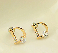 HUALUO@Earring Jewelry Exquisite Diamond Bright D word Zircon Small Earrings