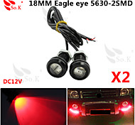 LED Eagle Eye Daytime Running DRL Backup Light Fog Car Auto Red 12V 18MM 9W X 2