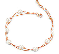 HKTC Vintage Simulated Pearl Bead Charm Bracelets 18k Rose Gold Plated Fashion Brand Wedding Jewelry