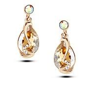 Austrian Crystal 14K Gold Plated Charm Dangle Drop Earrings For Women Dress Fashion Jewelry 2016 New Love