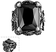 Fashion Simple Generous Men's Black Cubic Zirconia Stainless Steel Ring(Black)(1Pc)