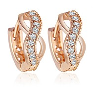 Allergy Free Gold Plated Women Stud Earrings European Style Luxury Zircon Insert Weave Hoop Earrings