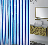 Classic Blue Bars Waterproof Mildew Shower Curtain PEVA Material 180X180