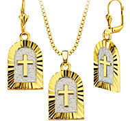 Special Design 18k Gold/Platinum Plated Arch Cross Necklace&Earrings Fashion Women Jewelry Set Gift S20166