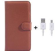 PU Leather Flip Wallet Case with USB Cable for Samsung Galaxy Grand Prime/Core Prime (Assorted Colors)