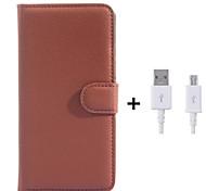 PU-Leder Flip-Mappenkasten mit USB-Kabel für Samsung-Galaxie grand prime / Kern prime (verschiedene Farben)