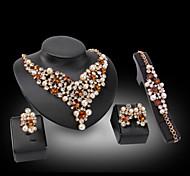 Joyas 1 Collar 1 Par de Pendientes 1 Brazalete 1 Anillo Chapado en Oro La imitación de diamante Amor Boda Fiesta Perla 1 Set Mujer Dorado