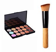 1pcs Powder Brush Travel/Professional/Eco-friendly with 2PCS 15 Colors Contour Face Powder Mirror Makeup Palette  Makeup Kit Contour Kit