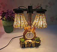 Creative Wood The Violin with Clock Double Light Bulb Container Decoration Desk Lamp Bedroom Lamp Gift for Kid