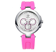 Lady's White Case Silicone Band Analog Wrist Watch Jewelry